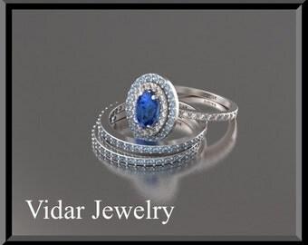 Unique Engagement Ring Set,Blue sapphire Wedding Ring Set,Diamond Wedding Ring Set,Double Halo Wedding Ring Set,Triple Ring Set,Blue
