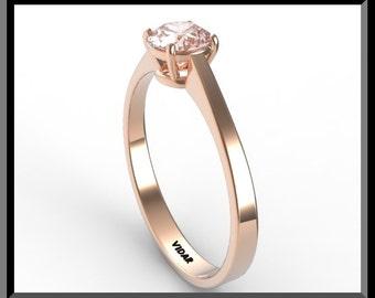Unique Engagement Ring,Pink Morganite Engagement Ring,Unique Engagement Ring,Solitaire Engagement Ring.Rose gold,custom.