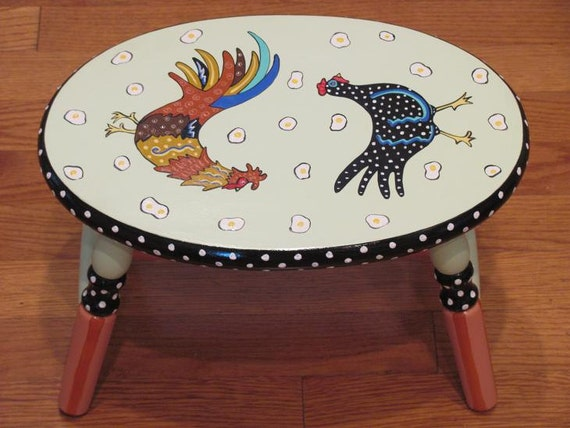 Hand Painted Rooster Chicken Step Stool, rooster lovers gifts, hand painted step stools, kitchen step stool