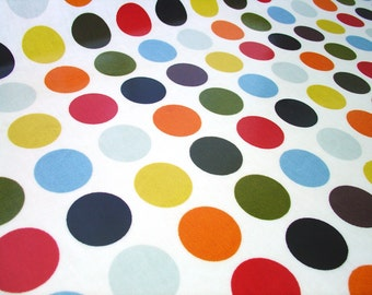 "0.5 yard Oilcloth - Laminated Cotton dotty tablecloth in olive oil (orange red) dots 52"" wide by dotty spots fabrics"