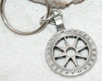 Pewter Wheel of Life Tibetan Buddha Yoga Namaste Meditation Keychain Key Ring (31I-KC)