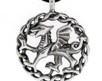 Pewter Wales Red Dragon Welsh Flag Pendant (24G)