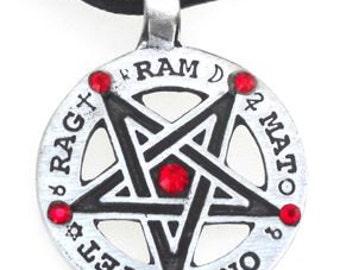 Pewter Inverted Pentagram Tetragrammaton Runes Pendant with Swarovski Crystal Ruby Red JULY Birthstones (55C)
