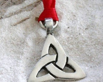 Pewter Triquetra Knot Celtic Triangle Trinity Christmas Ornament and Holiday Decoration (21A)