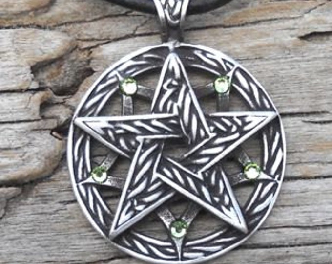 Featured listing image: Pewter Double Pentagram Celtic Pagan Pentacle Pendant with Swarovski Crystal Peridot Green AUGUST Birthstone (56I)