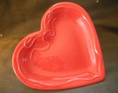 Valentines Red  Heart Trinket Plate Wall Decor