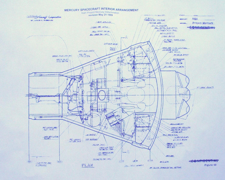 NASA Mercury Capsule Blueprint by BlueprintPlace on Etsy