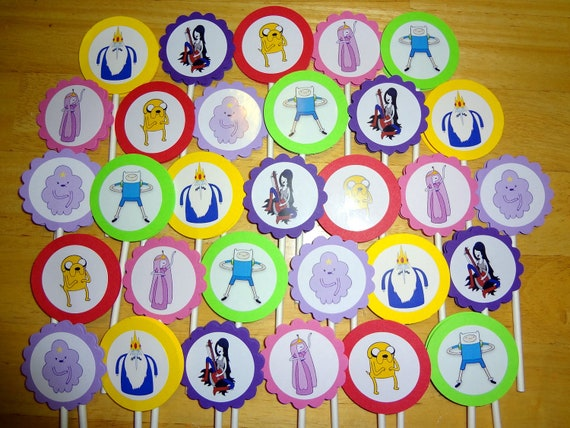 30 ct Adventure Time cupcake toppers personalized Birthday party favors decoration