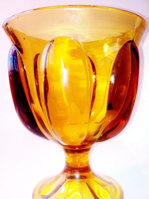 Just in time for Autumn Beautiful Vintage Amber Glass Compote