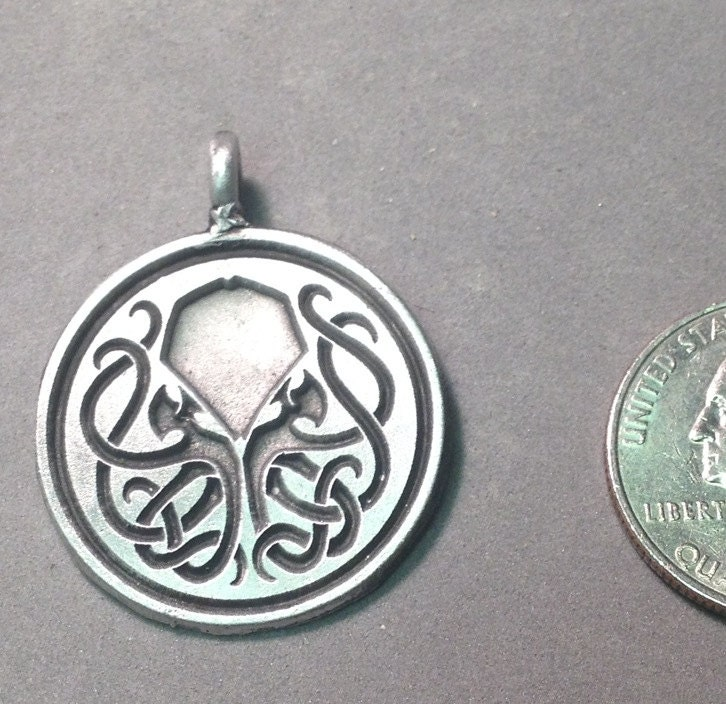 aged pewter inverse cthulhu pendant by qpproductions on etsy
