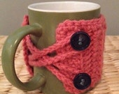 Crochet Mug Cozy: Pink with Navy Buttons