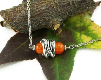 Abstract Necklace, Home Depot Industrial Chic Jewelry, Silver Orange, Modern Abstract Jewelry, Contemporary Jewelry