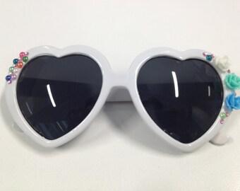 Lolita Heart Sunglasses With Flowers and Rhinestones
