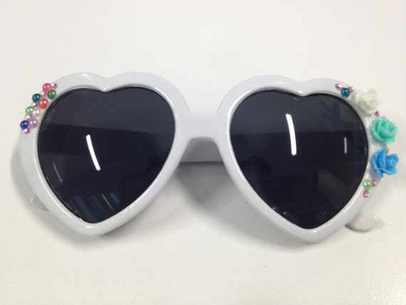 Lolita Heart Sunglasses With Flowers and Rhinestones