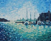 Fine art Print of Oil painting: Boats and a San Francisco Cityscape, 12x17