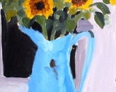 Poster Print of Oil painting: Sunflowers, 12x18