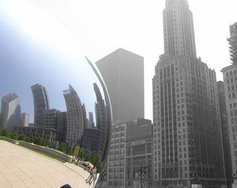 Chicago Cloud Gate Photo, Selective color, blue and tan black and white, fine photography prints, Metrosphere