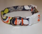 FL110 Vibrant Retro Tulip and Multi Flower Adjustable Dog Collar