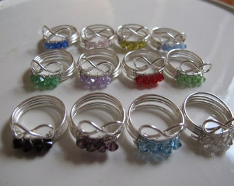 Children's wire wrapped birthstone Infinity rings, children's jewelry, birthday gift