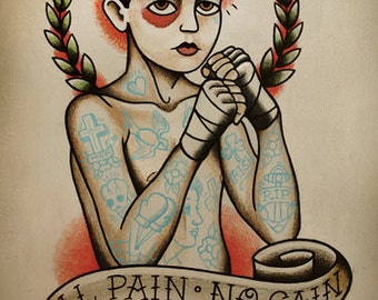 Traditional Boxer Boy Tattoo Art Print