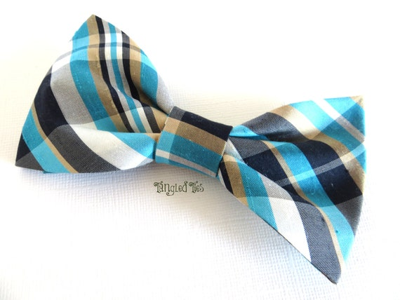 Unique Bow Tie For Men In Navy White Tiffany Plaid Clip On