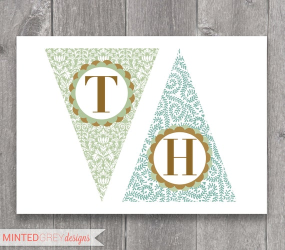 "Mint Green, Gold & Turquoise ""Thank You"" Banner"
