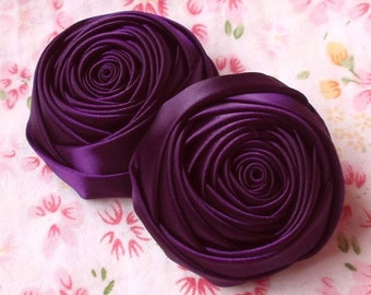 2 Handmade Rolled Roses (2 inches) in Plum MY-012 -46 Ready To Ship