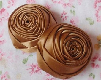 2 Handmade Ribbon Rolled Roses (2 inches) in Chipmunk  MY-012 -186 Ready To Ship