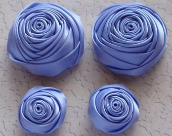 4 Handmade Rolled Roses (2 inches,1-1/4 inch) in Iris  MY-060-84 Ready To Ship