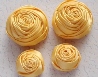 4 Handmade Ribbon Rolled Roses (2 inches,1-1/4 inch) in  Yellow Gold  MY-060-119 Ready To Ship