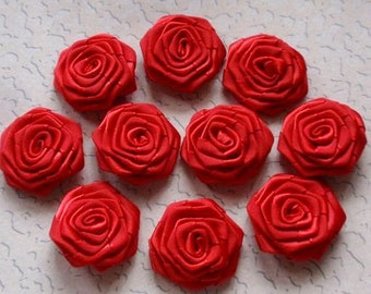 10 Handmade Ribbon Roses (1-1/4 inches) In Red MY-022 - 40 Ready To Ship