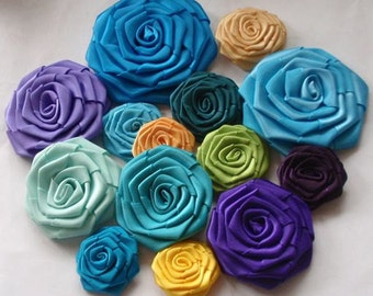 14 Handmade Ribbon Roses In Blue, Green, Purple, Yellow Combination MY-001 -09 Ready To Ship (On Sale)