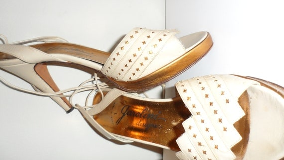 designer garolini ankle wrap copper and cream shoes high heels  sandels  size 8 m 1970s charlies angels