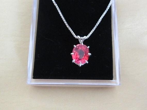 5 carat Oval Pink Sapphire Pendant