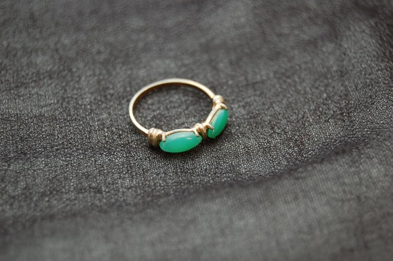 Vintage Pinky Ring with Green Stones
