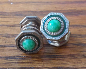 Vintage 1920s Snap Link Button Cuff Links with Dark Green Enamel and Light Green/ Turquoise Stone.