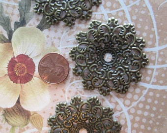 4 natural filigree pieces to paint or patina for jewelry making