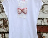 Womens Fitted Cotton T-Shirt with Handmade Bow 10-12
