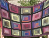 """Puro - """"Stream"""" - 77""""X52"""" Paintbox Log Cabin Knitted Blanket/Bedspread"""
