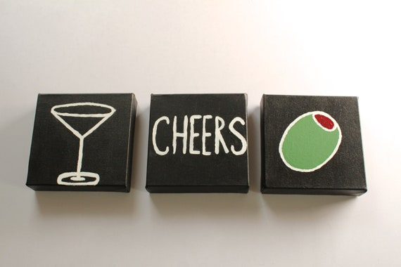 Cheers - Happy Hour Set of 3 Martini Paintings