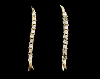 Vintage Pair of Goldtone Clear Rhinestone Bobby Pins