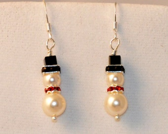 Snowmen Earrings, Swarovski Pearls, Drop Pearl Earring, Snowman Earrings