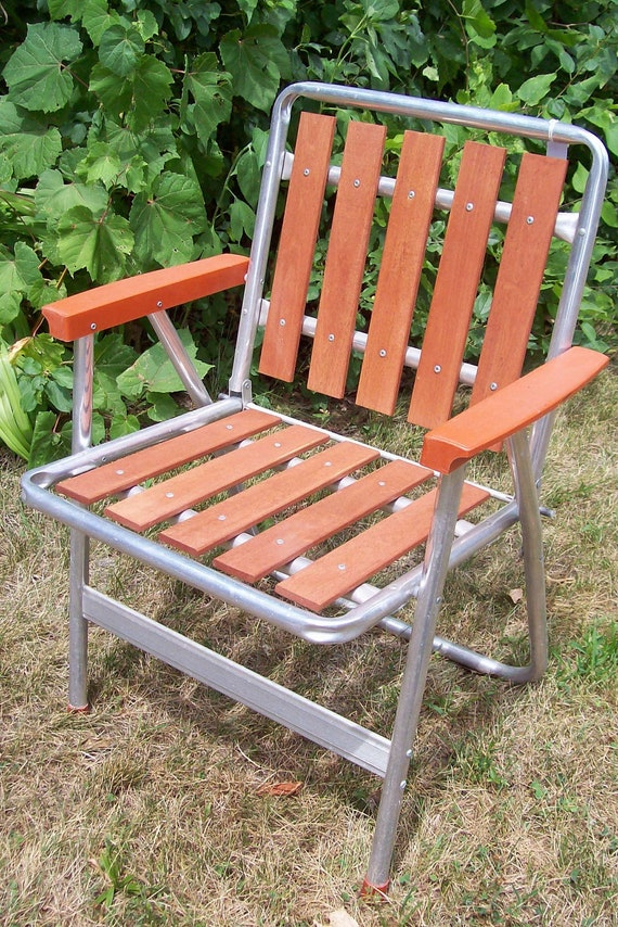 Vintage Redwood Slat Aluminum Folding Chair By TheCupboardOwl