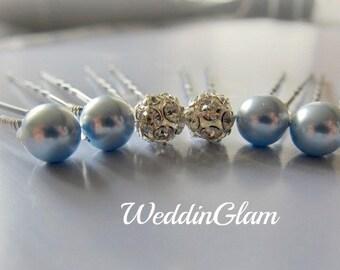 Something Blue Hair Pins, Wedding Hair accessories, Wedding Hair Pins, Bridesmaid Hair Pins, Rhinestone Ball, Bridesmaid gift