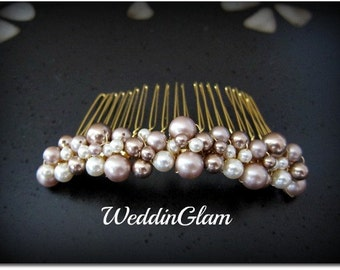 Fall Wedding Comb, Mother of the bride gift , Wedding Hair Accessories, Swarovski Pearls Comb, Brown Champagne Mix, Elegant Hair Comb