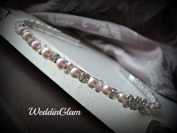 Pearl headband, Pink rhinestone hair band, Metal beaded head piece, Flower girl hair accessories, Bridal bridal party hair tiara