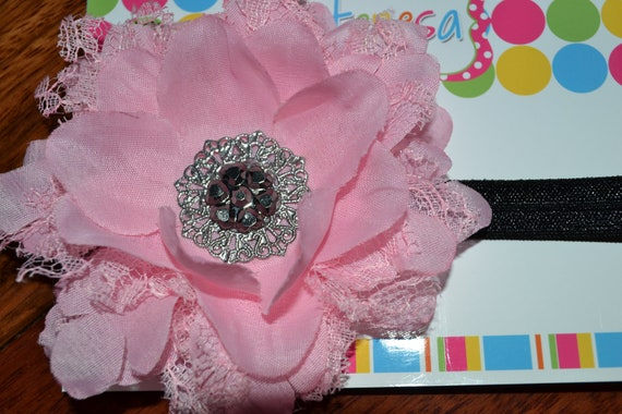 PINK lace embellished floral headband - toddler to teen