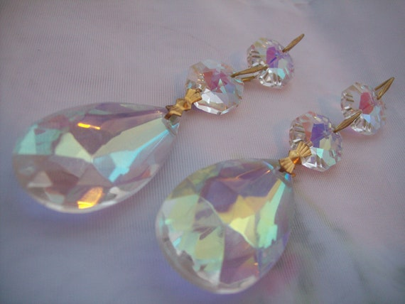 2 Asfour Crystal Iridescent Chandelier Teardrop Prisms 38mm AB Shabby Chic Prisms