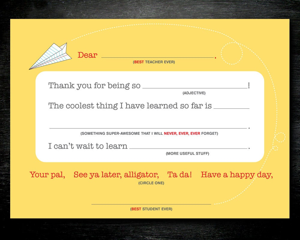 PRINTABLE Back to School Teacher Thank You by InvitationToMars