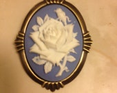 Blue Rose Cameo Necklace/Brooch